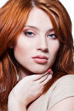 Gezicht van een sexy redhead meisje Royalty-vrije Stock Foto