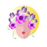 Gezicht van een vrouw met haar van bloemen wordt gemaakt die Lippen - hart Vlakke pictogramavatar Stock Fotografie