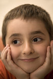 Gezicht van Gelukkige en Tevreden Jonge Jongen royalty-vrije stock foto's