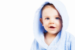 Gezicht van grappige babyjongen met verrassingsuitdrukking Stock Foto