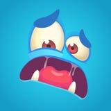 Gezicht van het beeldverhaal het boze monster Vector blauwe monster doen schrikken avatar Royalty-vrije Stock Foto
