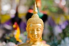 Gezicht van het gouden beeldhouwwerk van Boedha, Thailand Stock Afbeeldingen