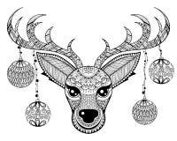 Gezicht van het Zentangle het vectorrendier met de ballen F van de chriatmasdecoratie Royalty-vrije Stock Afbeeldingen