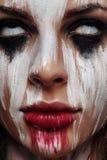 Gezicht van jonge mooie Vrouw met witte Ogen royalty-vrije stock fotografie