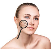 Gezicht van jonge vrouw met droge huid Royalty-vrije Stock Fotografie