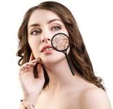 Gezicht van jonge vrouw met droge huid Stock Afbeelding