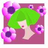 Gezicht van meisje met groen haar op de achtergrond van purpere bloemen Vlakke avatar Royalty-vrije Stock Afbeelding
