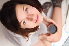 Gezicht van mooi donkerbruin close-up Stock Afbeelding