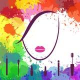 Gezicht van mooi meisje Het pictogram van Fashion van de make-upkunstenaar Embleemtempla vector illustratie