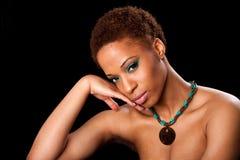 Gezicht van mooie Afrikaanse vrouw Royalty-vrije Stock Foto's