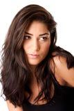 Gezicht van mooie brunette Stock Foto