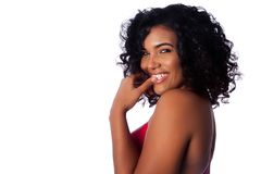 Gezicht van mooie glimlachende vrouw Royalty-vrije Stock Foto's