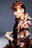 Gezicht van mooie Kaukasische donkerbruine vrouw Stock Afbeelding
