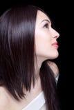 Gezicht van mooie sexy jonge donkerbruine vrouw royalty-vrije stock afbeeldingen