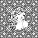 Gezicht van vrij elegant bohomeisje met hart gestalte gegeven kader Mooi golvend krullend haar en pouty lippen Royalty-vrije Stock Afbeelding