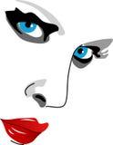 Gezicht van vrouw, ogen, neus en lippen Stock Afbeelding