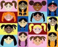 Gezichten 2 van meisjes vector illustratie