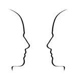 Gezichten die - zwarte op wit, gespreksmetafoor, concept spreken stock illustratie