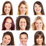 Gezichten, glimlachen en tanden Royalty-vrije Stock Foto's