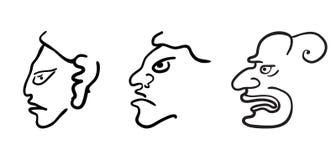 Gezichten in stijl van Maya Indians, vector Stock Afbeelding