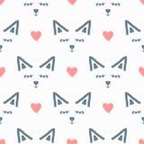 Gezichten van abstracte dier en harten Leuk naadloos patroon Getrokken door hand vector illustratie