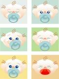 Gezichten van babys met verschillende uitdrukkingen Royalty-vrije Stock Foto
