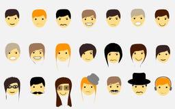 Gezichten voor avatar jongens en meisjes en emoties, met Stock Foto
