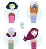 Gezichts behandeling: Vrouwen met gezichtsmasker Royalty-vrije Stock Afbeelding