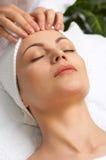 Gezichts massage (de reeks van de schoonheidssalon) Stock Foto's
