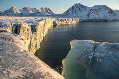 Gezichtsgletsjer in zonlicht Stock Afbeeldingen