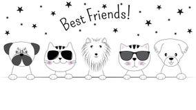 Gezichtskatten en honden beste die vrienden op witte achtergrond worden geïsoleerd Contoursilhouet stock illustratie