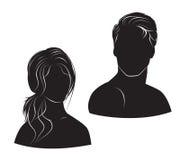 Gezichtsman en vrouw op witte achtergrond Royalty-vrije Stock Foto