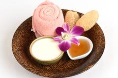 Gezichtsmasker met yoghurt en honing stock foto's