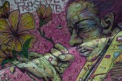 Gezichtsmuurschildering van een vrouw stock fotografie