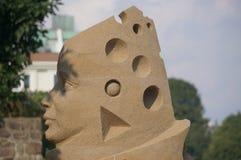 Gezichtsod het beeldhouwwerk van de zandmens in Kristiansand, Noorwegen Royalty-vrije Stock Afbeelding