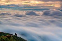 Gezichtspunt, berg, mist in zonsopgangtijd in Phu Thap Boek, Phetcha stock foto