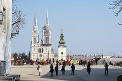 Gezichtspunt in de Hogere Stad van Zagreb Kroatië royalty-vrije stock foto