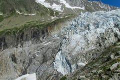 Gezichtspunt van de Argentiere het schilderachtige gletsjer in de Alpen stock afbeelding