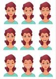 Gezichtsuitdrukkingen van een vrouw Verschillende vrouwelijke geplaatste emoties Stock Fotografie