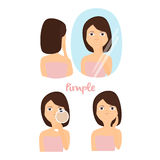 Gezichtszorg, Schone huid problemen, uitbarstingen, acne Vector Royalty-vrije Stock Fotografie