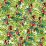 Gezierte Baumaste, Kegel, Mistelzweig Weihnachtsnahtloser Hintergrund watercolor Lizenzfreie Stockfotos