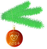 Gezierter Zweig mit Weihnachtsspielzeug Lizenzfreie Stockbilder