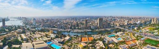 Gezira海岛,开罗,埃及全景从上面的 免版税库存图片