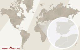 Gezoem op de Kaart en de Vlag van Gibraltar De kaart van de wereld vector illustratie