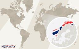 Gezoem op de Kaart en de Vlag van Noorwegen De kaart van de wereld royalty-vrije illustratie