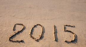 2015 gezogen auf Sand Lizenzfreies Stockfoto