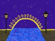 Gezogene bunte Brücke mit Straßenlaternen nachts Fall Stockfotografie
