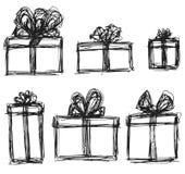 Gezogene Geschenke eingestellt stock abbildung