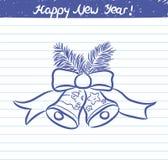 Gezogene Glockenillustration für das neue Jahr - Skizze auf Schulnotizbuch Lizenzfreie Stockbilder
