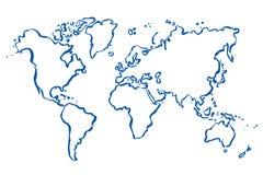 Gezogene Karte der Welt Stockbild
